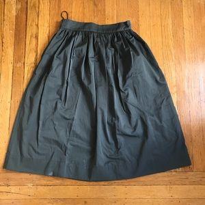 Zara dark green A line midi skirt size XS